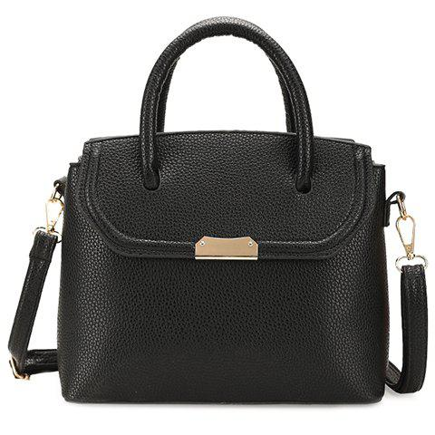 Graceful Metallic and Solid Color Design Tote Bag For Women -  BLACK