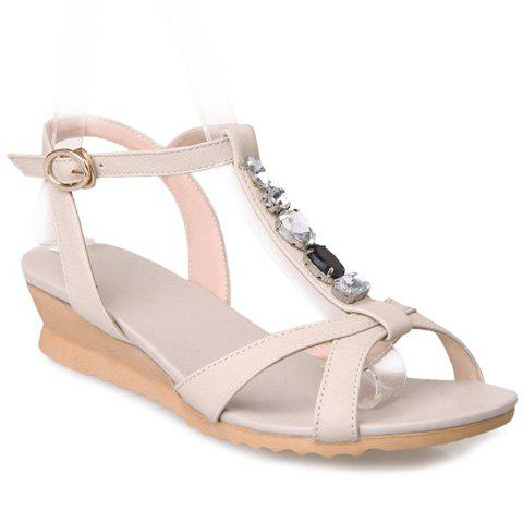 Trendy Rhinestones and T-Strap Design Women's Sandals - OFF WHITE 36