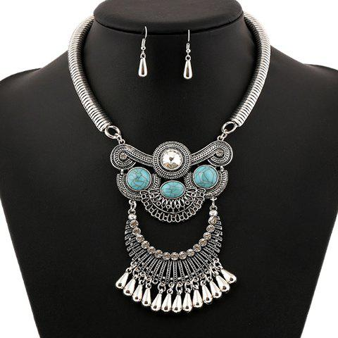 A Suit of Artificial Gem Water Drop Necklace and Earrings - SILVER/BLUE