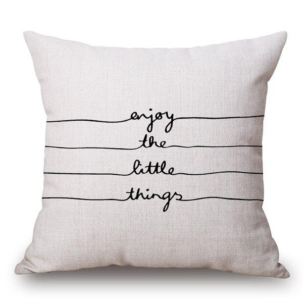 Hot Sale Letters and Line Pattern Cotton and Linen Pillow Case(Without Pillow Inner) - OFF WHITE