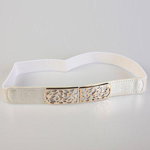 Chic Glitter Powder and Openwork Metal Embellished Women's Elastic Waistband - WHITE
