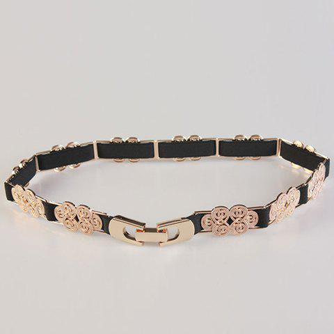 Chic Chinese Knot Shape Alloy Embellished Women's Elastic Waistband - BLACK