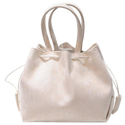 Laconic Suede and String Design Women's Tote Bag - MILK WHITE