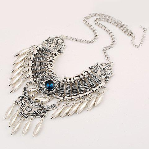Artificial Gem Oval Necklace - SILVER/BLUE