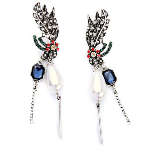 Pair of Graceful Faux Pearl Feather Shape Earrings For Women эспандер кистевой power ball hg3239