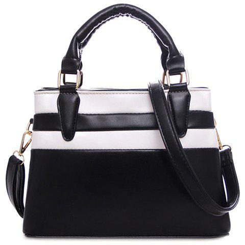 Trendy Color Block and PU Leather Design Women's Tote Bag - BLACK