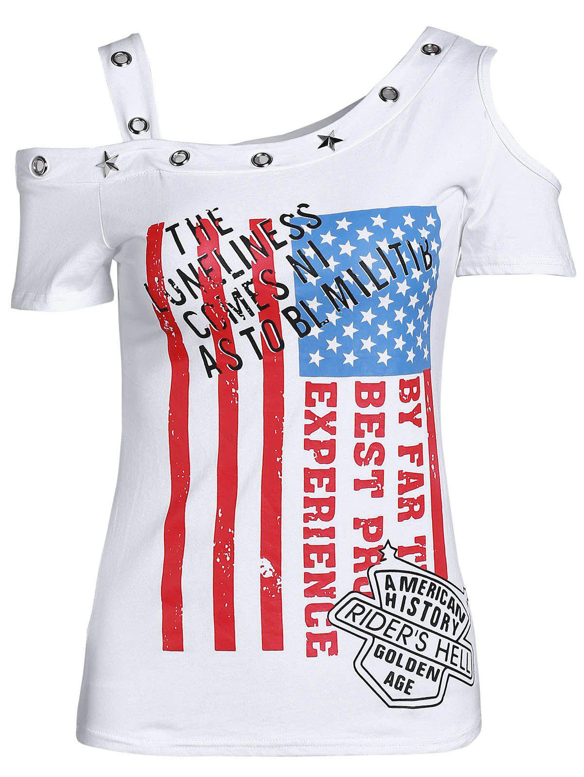 Trendy Skew Neck Cut Out Letter Print Sheath Pullover T-Shirt For Women - WHITE L