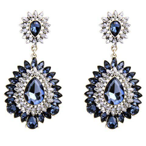 Pair of Faux Gem Water Drop Earrings - BLUE
