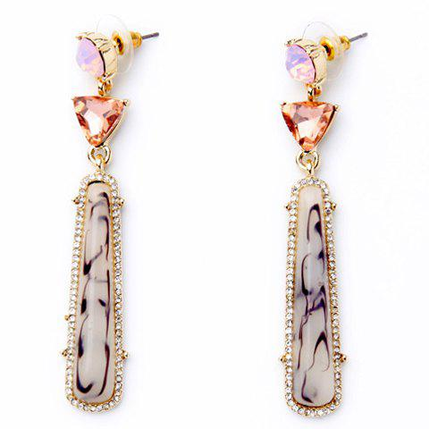Rhinestone Triangle Rectangle Fake Gem Earrings - GOLDEN