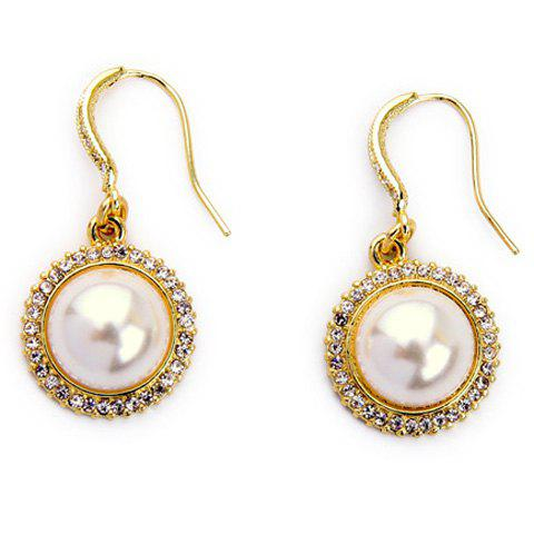 Pair of Charming Faux Pearl Rhinestone Earrings For Women