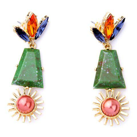 Pair of Gorgeous Faux Crystal Floral Geometric Earrings For Women