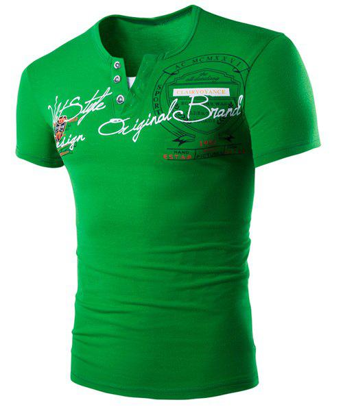 Round Neck Faux Twinset Letters Pattern Print Short Sleeve Men's T-Shirt - GREEN L