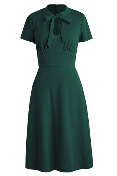 Elegant Women's Short Sleeves Ruffled Fit and Flare Dress - OLIVE GREEN 2XL