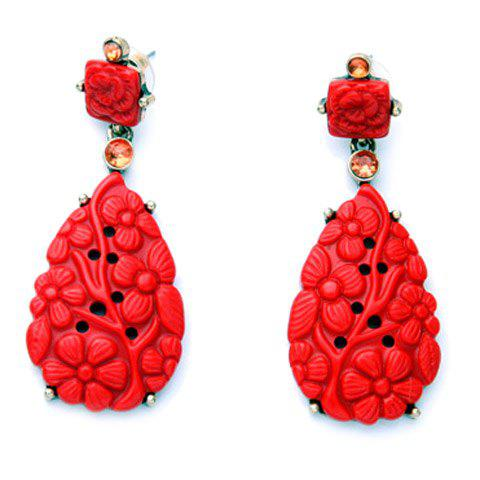 Pair of Gorgeous Floral Water Drop Earrings For Women