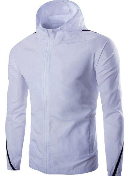Modish Hooded Color Block Spliced Long Sleeve Zip Up Men's Jacket - WHITE M