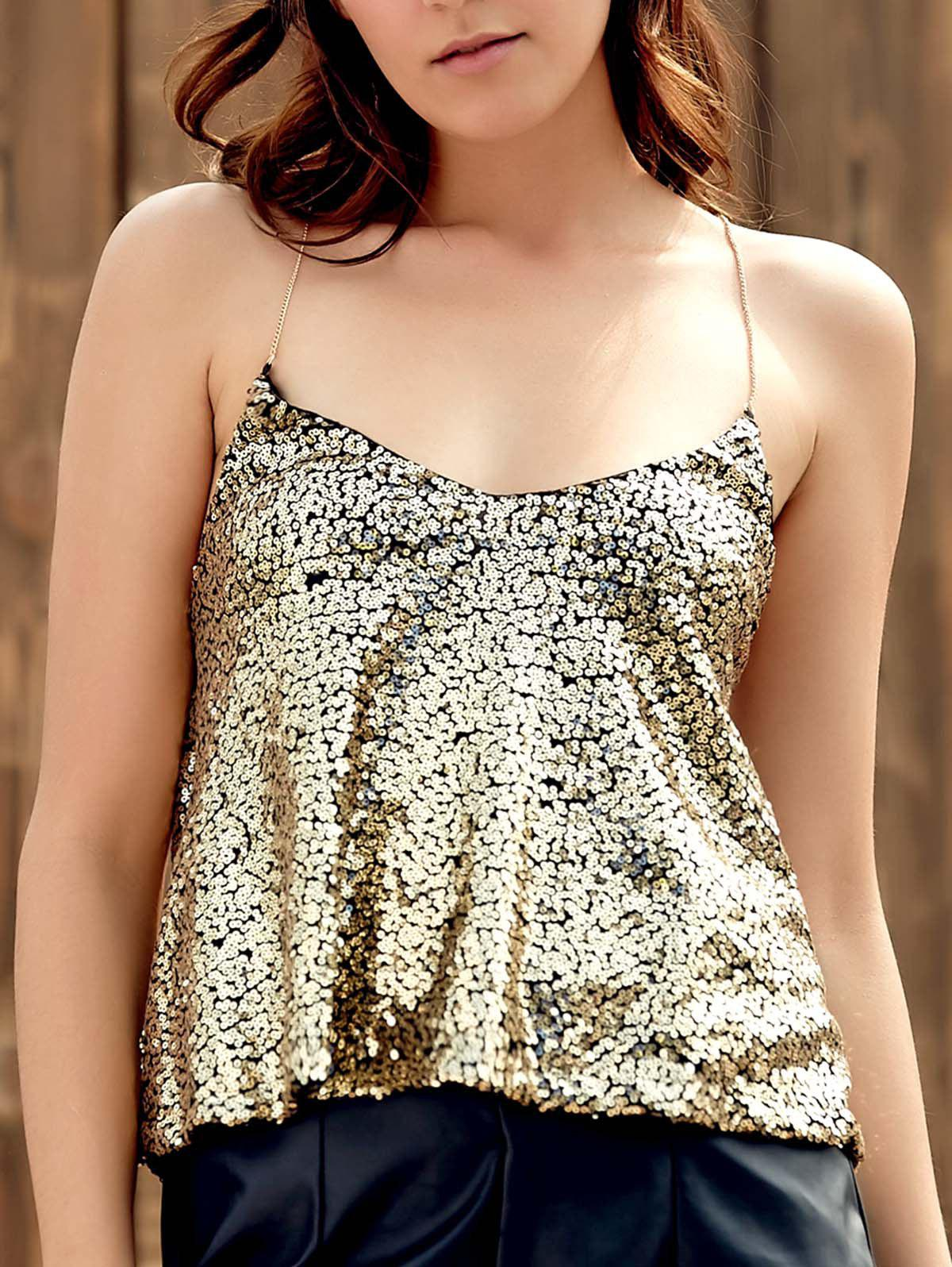 Sexy Spaghetti Strap Women's Sequins Tank Top - GOLDEN S