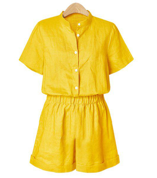 Button Up Stand Collar Romper - YELLOW L