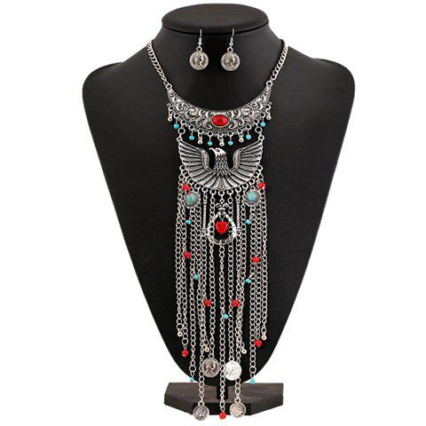 A Suit of Gorgeous Artificial Gem Eagle Coin Necklace and Earrings For Women