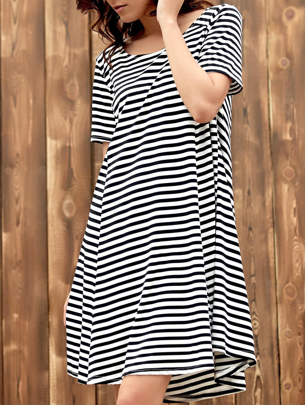 Sweet Style Scoop Neck Short Sleeve Black and White Stripe Women's Dress - WHITE/BLACK S