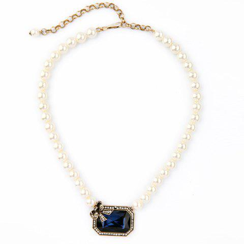 Chic Faux Pearl Rhinestone Bowknot Necklace For Women - BLUE