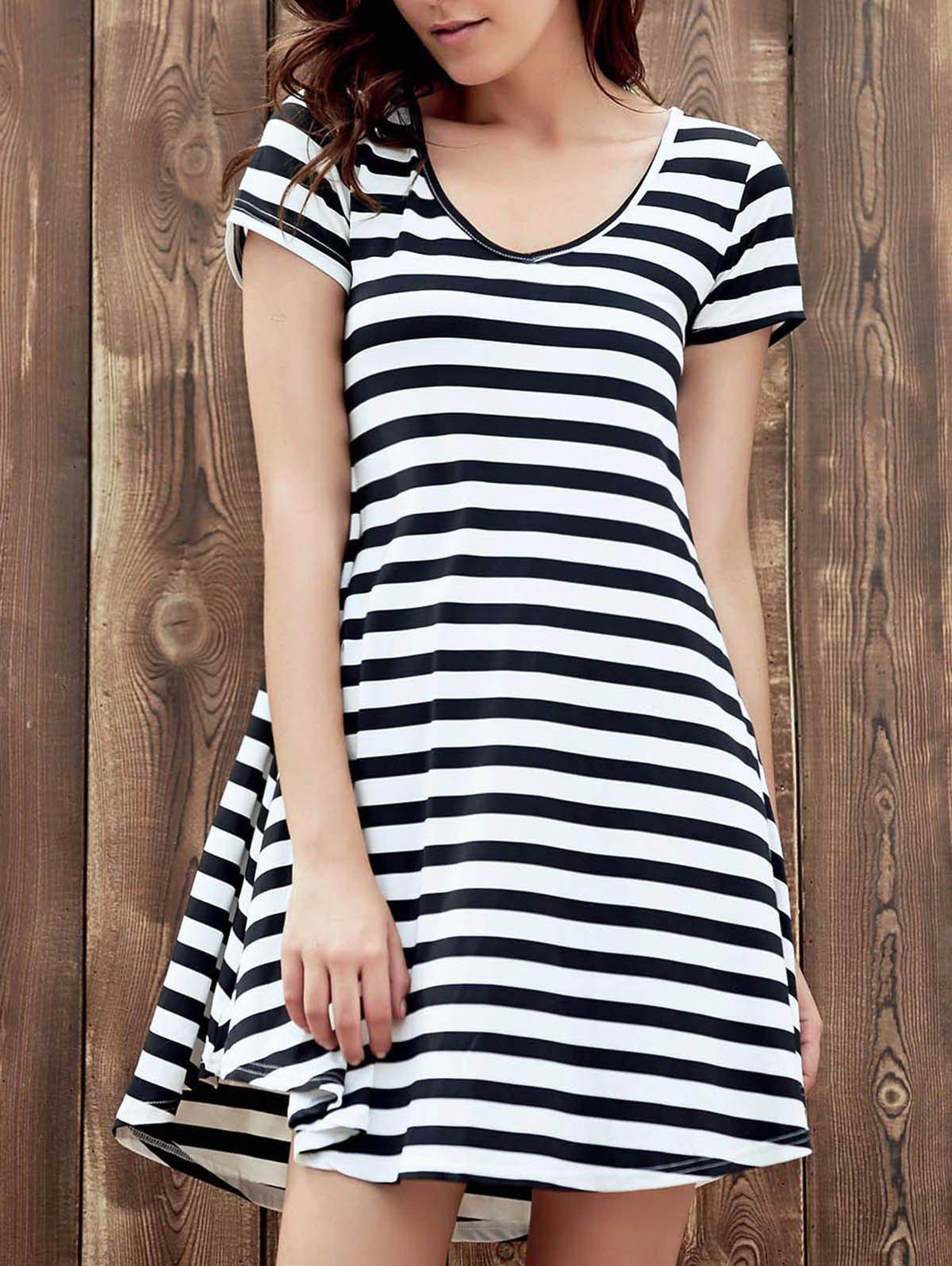 Sweet Style V Neck Short Sleeve Black and White Stripe Women's Dress - WHITE/BLACK S