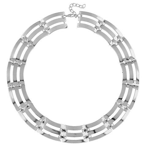 Hollow Out Multilayer Necklace - SILVER