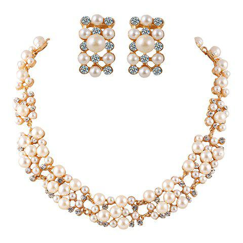 A Suit of Graceful Rhinestoned Faux Pearl Necklace and Earrings For Women