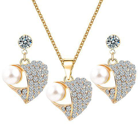 A Suit of Faux Pearl Rhinestone Heart Necklace and Earrings - GOLDEN