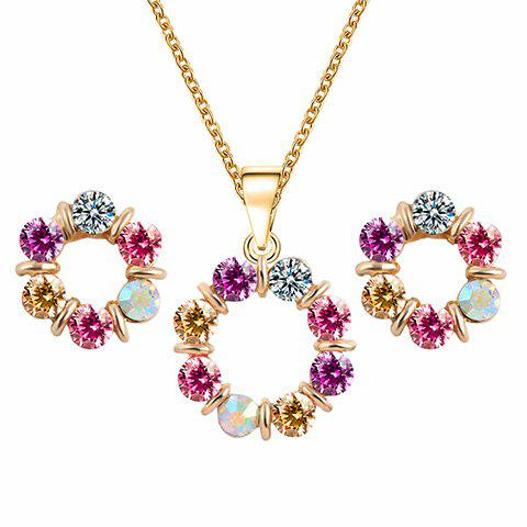 A Suit of Round Rhinestone Necklace and Earrings - GOLDEN