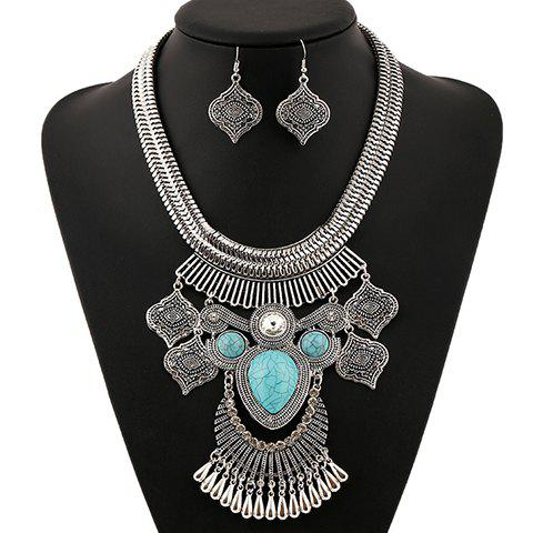 A Suit of Artificial Gem Rhinestone Water Drop Necklace and Earrings - SILVER/BLUE
