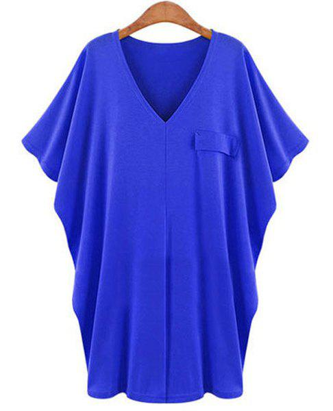 Casual V-Neck Solid Color Batwing Sleeve T-Shirt Dress For Women - BLUE 3XL