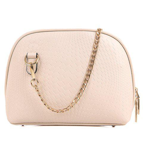 Trendy Chains and Embossing Design Women's Crossbody Bag - WHITE