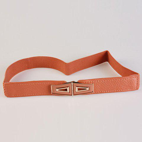 Chic Hollow Out Trapezoidal Metal Embellished Women's Elastic Waistband - CAMEL