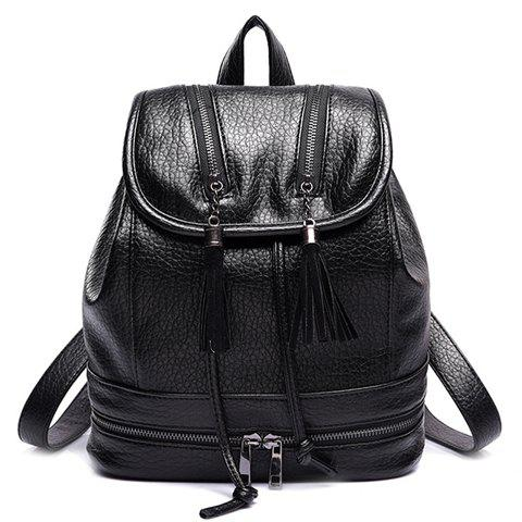 Casual Tassels and Zips Design Women's Satchel - BLACK