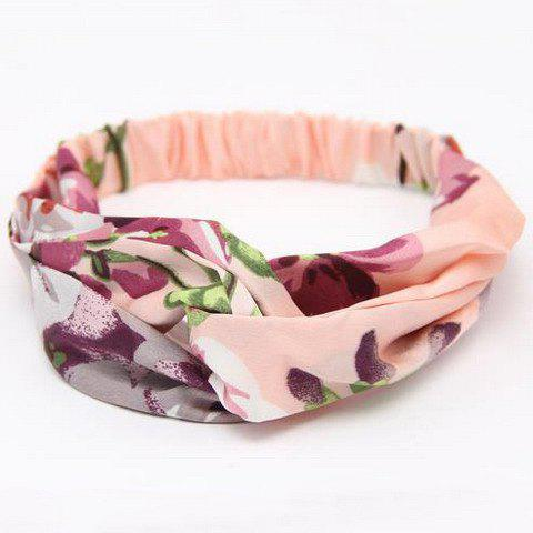 Chic Flower Printed Elastic Headband For Women - PINK