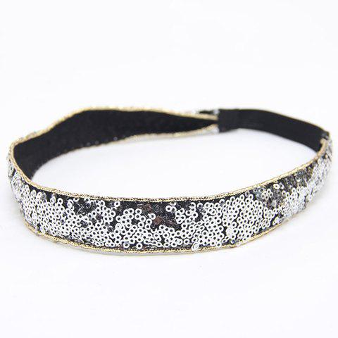 Chic Sequins Embellished Elastic Headband For Women - SILVER