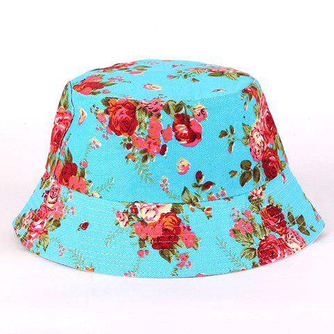 Chic Fulled Tiny Floral Pattern Flat Top Bucket Hat For Women - LAKE BLUE