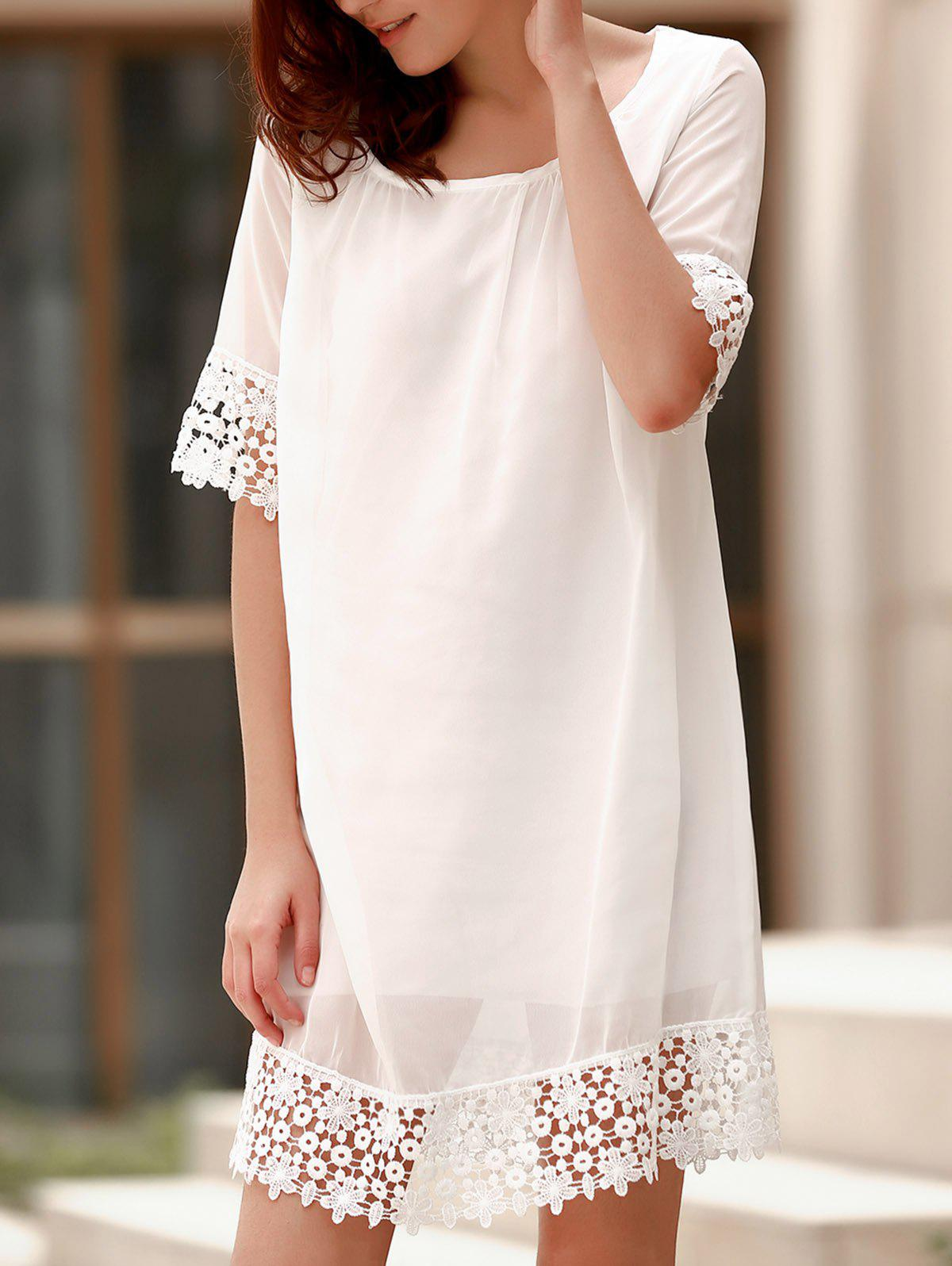 Sweet 3/4 Sleeve Lace Spliced Pleated White T-Shirt Dress For Women - WHITE M
