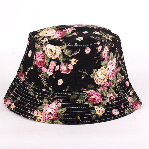 Chic Rose and Leaf Pattern Flat Top Black Bucket Hat For Women - BLACK