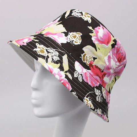 Chic Handpainted Flower Print Flat Top Women's Bucket Hat - BLACK