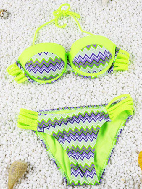Cute Openwork Halter Chevron Stripe Design Two-Piece Bikini For Women - FLUORESCENT YELLOW M