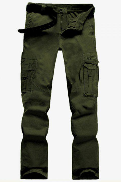Casual Solid Color Multi-Pocket Straight Zipper Fly Straight Leg Men's Cargo Pants - GREEN 32