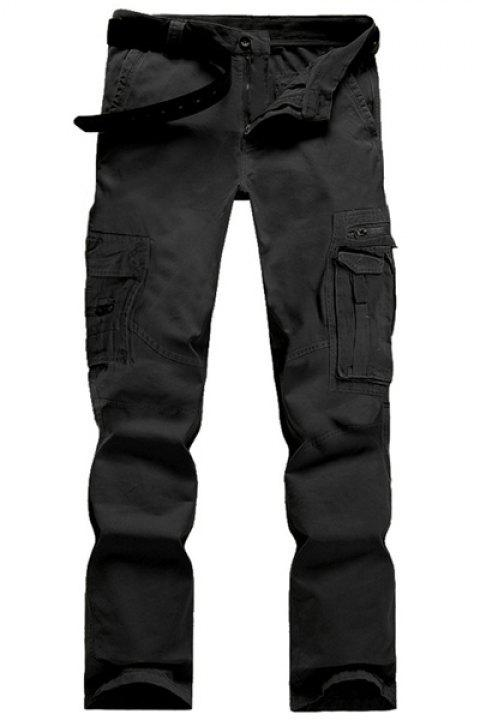 Casual Solid Color Multi-Pocket Straight Zipper Fly Straight Leg Men's Cargo Pants - BLACK 31