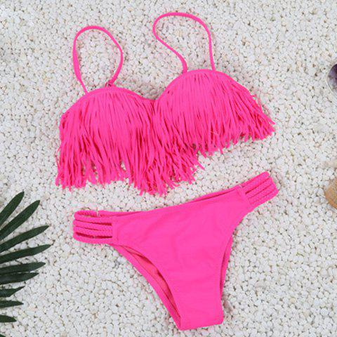 Chic Spagetti Strap Fringed Solid Color Women's Bikini Set - ROSE S