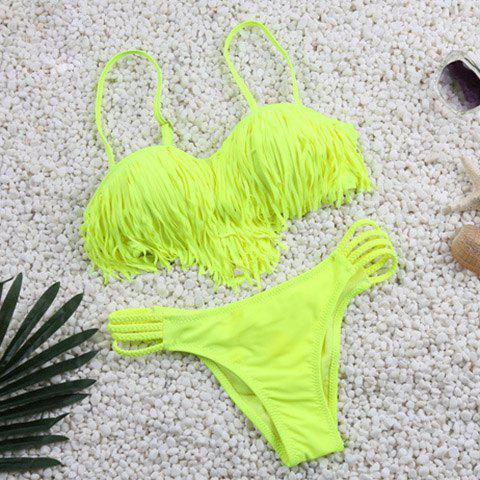 Chic Spaghetti Strap Fringed Solid Color Women's Bikini Set - FLUORESCENT YELLOW S