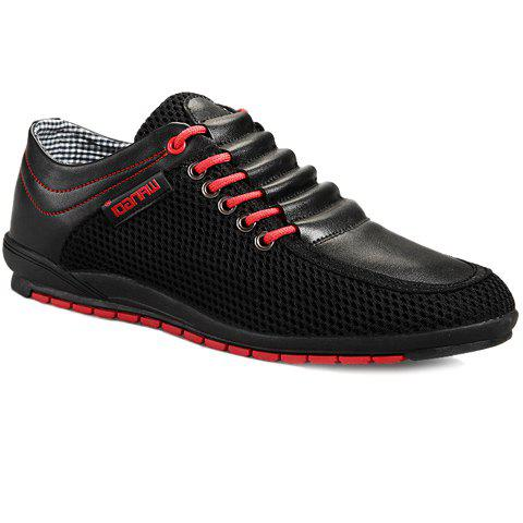 Stylish Splicing and Colour Block Design Men's Casual Shoes - BLACK 44