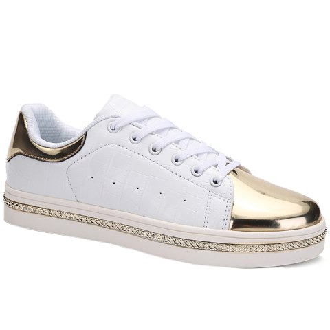 Trendy PU Leather and Metal Design Men's Casual Shoes - WHITE 39