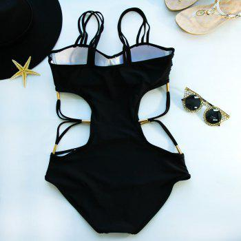 Hollow Out Strappy Swimsuits - BLACK S