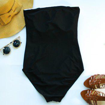 Trendy Strapless Hit Color One Piece Swimwear For Women - L L