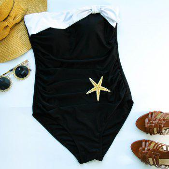 Trendy Strapless Hit Color One Piece Swimwear For Women - WHITE AND BLACK L